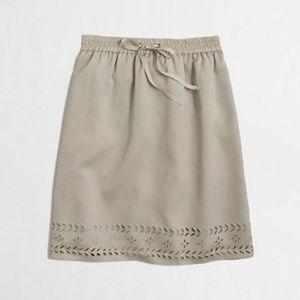 J Crew Khaki Laser-Cut Drawstring Skirt